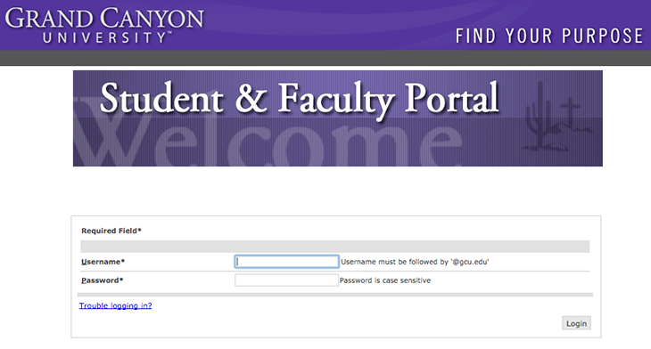 GCU Faculty Portal Login